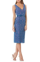 Kay Unger Lace Sheath Dress Caribbean Blue