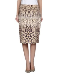 Angelo Marani Knee Length Skirts Beige