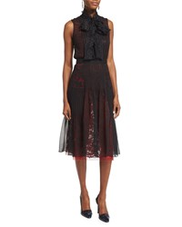Oscar De La Renta Sleeveless Tie Neck Dress Black Ruby Black Red Lace Size 10
