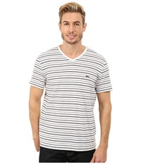 Lacoste Short Sleeve Fine Stripe V Neck Tee Shirt White Navy Blue Men's T Shirt