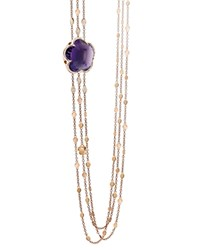 Pasquale Bruni 18K Rose Gold Bon Ton Amethyst And Diamond Multi Strand Necklace 40.5 Purple Rose Gold