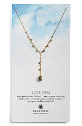 Women's Dogeared 'Love Gem' Semiprecious Stone Y Necklace Grey Gold