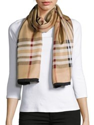 Lord And Taylor Silk Plaid Scarf Camel Purple