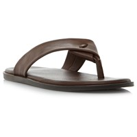 Dune Ignite Leather Sandals Brown