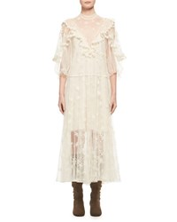 Chloe Embroidered Tulle Ruffle Gown Off White