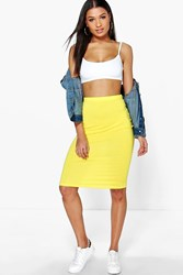 Boohoo Midi Jersey Tube Skirt Yellow