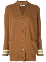 Bally Long Knitted Cardigan Brown