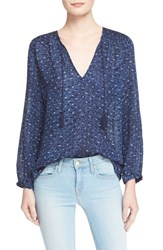 Women's Joie 'Ayala' Smocked Cotton Peasant Top Deep Chambray