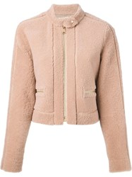 Fendi Contrast Shearling Jacket Pink And Purple