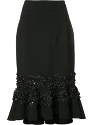 Carolina Herrera Floral Embroidery Ruffled Skirt Black
