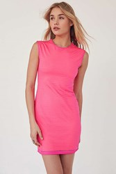 Silence And Noise Shadow Striped Muscle Tee Dress Pink