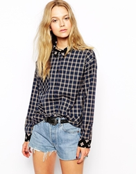 Kiss The Sky Oversized Check Shirt With Contrast Collar And Cuffs Multi