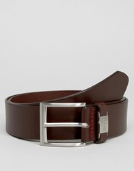 Hugo By Boss Leather Connio Belt In Brown Brown