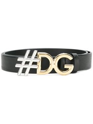 Dolce And Gabbana Hashtag Logo Buckle Belt Black