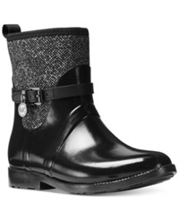 Michael Kors Charm Stretch Rain Booties Women's Shoes Black White