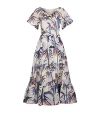 Emilio Pucci Bamboo Print Organza Ruffle Dress Female White