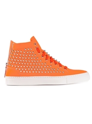 Giacomorelli Studded Hi Top Sneakers Yellow And Orange