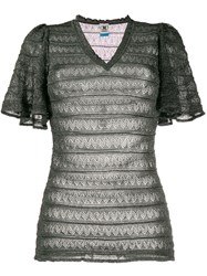 M Missoni Embroidered Lace Panel Fitted Top 60
