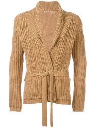 Nuur Shawl Lapels Ribbed Cardigan Nude And Neutrals