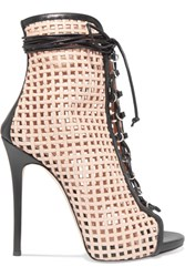 Giuseppe Zanotti Laser Cut Leather Ankle Boots Beige