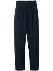 Universal Works Pleated Track Style Trousers Blue
