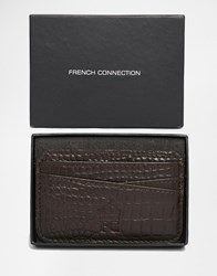 French Connection Leather Card Holder In Croc Tan