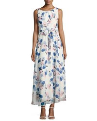 Chetta B Sleeveless Pleated Neck Floral Print Maxi Dress Multi