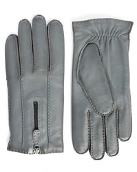 Agnelle Grey Wool Lined Zipped Gloves