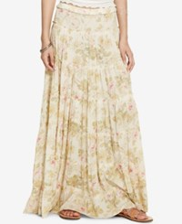 Denim And Supply Ralph Lauren Floral Print Gauze Tiered Maxi Skirt Natural