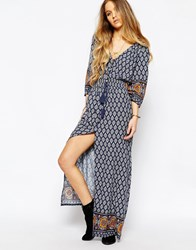 Kiss The Sky Deep In The Wood Print Tea Dress With Button Front Multi