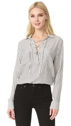 The Kooples Lace Up Striped Shirt Ecru