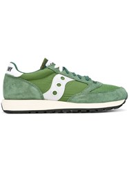 Saucony Lace Up Sneakers Men Calf Leather Nylon Rubber 8 Green
