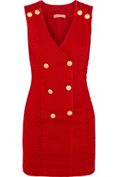 Balmain Pierre Double Breasted Quilted Corduroy Mini Dress Red