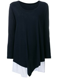 Y's Fitted Draped Sweater Blue