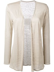 Majestic Filatures Open Cardigan Women Linen Flax 2 Nude Neutrals