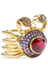 Noir Jewelry Woman 14 Karat Gold Plated Crystal And Stone Ring Gold