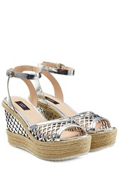 Steffen Schraut Leather Wedges With Cut Out Detail Silver