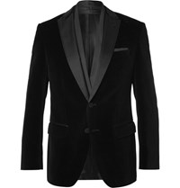 Hugo Boss Black Havit Slim Fit Satin Trimmed Velvet Blazer Black