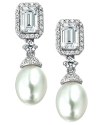 Arabella Bridal Cultured Freshwater Pearl 7Mm And Swarovski Zirconia 3 1 6 Ct. T.W. Earrings In Sterling Silver White