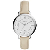 Fossil Es3793 Women's Jacqueline Date Leather Strap Watch Cream White