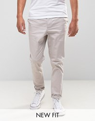 Asos Tapered Chinos In Grey Silver Cloud