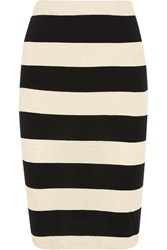 James Perse Striped Cotton And Linen Blend Jersey Pencil Skirt Black