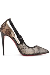 Christian Louboutin Hot Jeanbi 100 Satin And Patent Leather Trimmed Lace Pumps Black