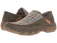 Roper Dougie Distressed Army Grey Plaid Men's Shoes Brown