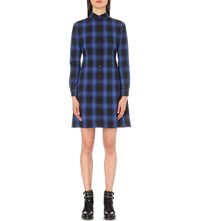 Maje Rulyl Checked Shirt Dress Electric Blue
