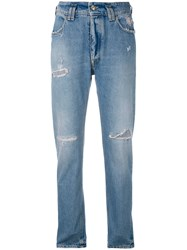 Cycle Distressed Slim Fit Jeans Women Cotton 25 Blue
