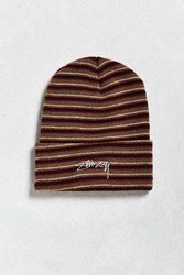 Stussy Stock Striped Cuff Beanie Olive