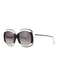 Courreges Two Tone Oval Sunglasses Black White