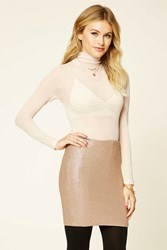Forever 21 Contemporary Sequin Mini Skirt Rose Gold