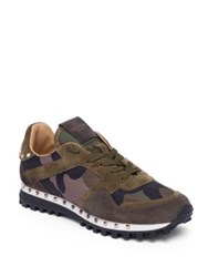 Valentino Camo Studded Suede Sneakers Army Green